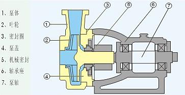 氟塑料化工泵结构示意图